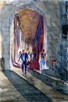 cityscape, city, street, arch, morning, light, people, crowd, original watercolor painting, gabetta