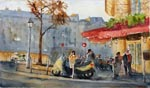 cityscape, city, street, cafe, morning, light, people, crowd, original watercolor painting, gabetta