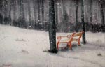 landscape, woods, forest, snow, bench, trees, winter, snowing, original watercolor painting, gabetta