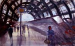 cityscape, city, railway station, station, train, people, crowd, original watercolor painting, gabetta