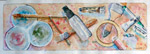 still life, brush, color, tubes, painter, painting, original watercolor painting, gabetta