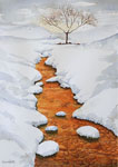 landscape, woods, forest, snow, creek, river, trees, winter, sunset, original watercolor painting, gabetta
