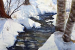landscape, woods, forest, snow, creek, river, trees, winter, birch, twigs, original watercolor painting, gabetta